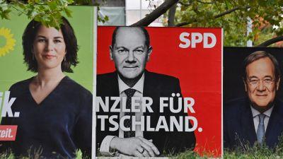 Valkampanj i Tyskland. Annalena Baerbock, Olaf Scholz, Armin Laschet