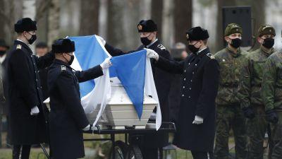 Den sista Mannerheimriddaren Tuomas Gerdts begravning den 28 november 2020.