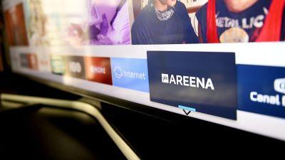 En tv-skärm med Arenans logga.