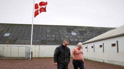Minkfarm i Danmark med flagga på halvstång.