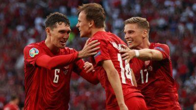 Danmark firar mål i EM.