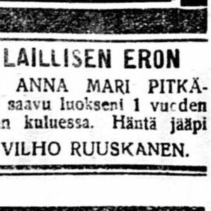 Vanha lehtileike avioerokuulutuksesta 1920-luvulta.