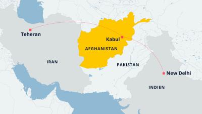 Karta över hur Teheran och New Delhi förhåller sig geografiskt till Kabul