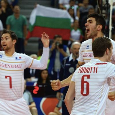 France players react during the final between France and Slovenia at the men's 2015 CEV Volleyball European Championship