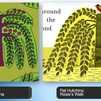 Marimekon Isoisän puutarha -kuosi ja Rosie's Walk -lastenkirjan kuvitusta.