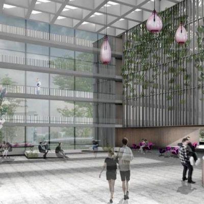 Kanta-Hämeen uuden keskussairaalan havainnekuva, sisänäkymä aulasta kaupunkiin päin