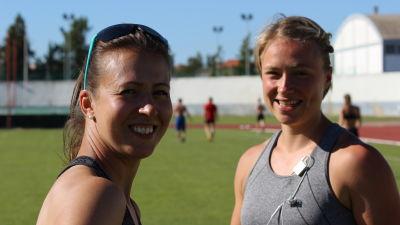 Petra Stenman och Ella Räsänen, läger i Portugal, våren 2016.