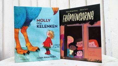 """Bilderböckerna """"Molly och Kalenken"""" och """"Främlingarna""""."""