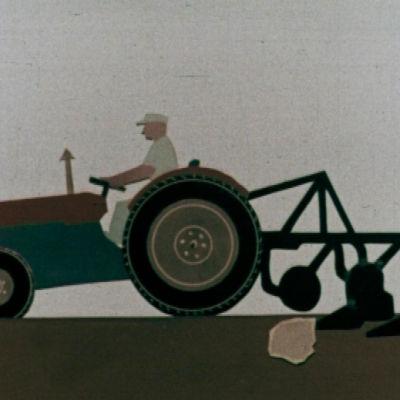 piirros traktorista pellolla