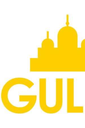 Logo med texten Gul i stan och en siluett av Helsingfors i gult.