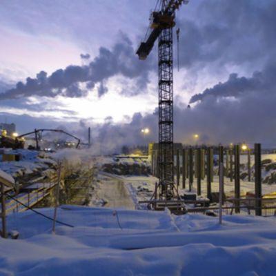 Luftningsbassängen vid UPM:s vattenreningsverk i Jakobstad