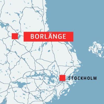 Karta med Borlänge och Stockholm utprickat.