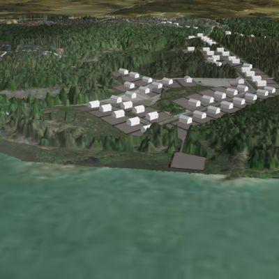 Tredimensionell karta över Båssastranden som ligger invid Gammelboda i Ekenäs. Kartan är gjord i samarbete med Novia.