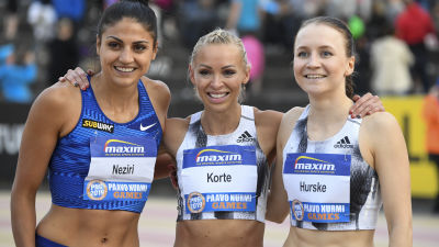 Häckdamerna Nooralotta Neziri, Annimari Korte och Reetta Hurske tävlade i Paavo Nurmi Games i juni 2019.