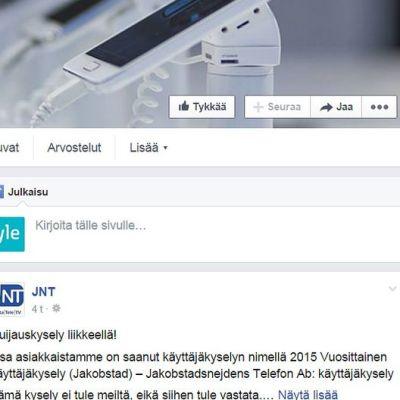 Kuvassa kuvakaappaus JNT:n Facebook-sivulta.