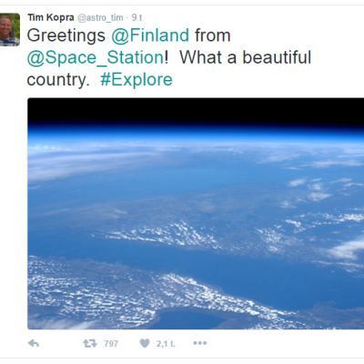 Kuvakaappaus astronautti Tim Kopran twiittaamasta kuvasta.