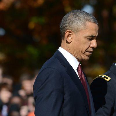 Barack Obama muistotilaisuudessa.