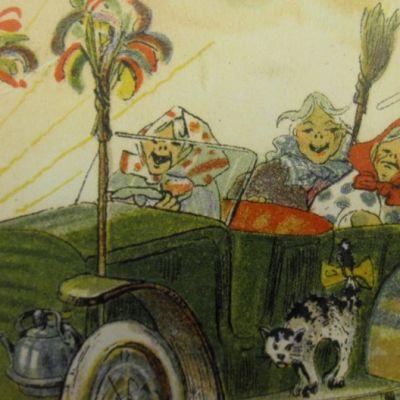 Vanha postikortti, jossa pääsiäisnoidat matkustavat autolla
