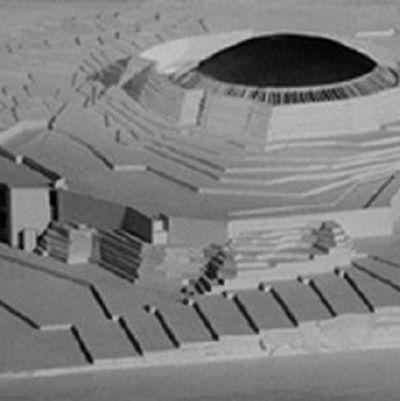 modell av tempelplatsens kyrka