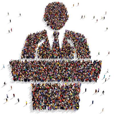 Ihmisjoukko muodostaa poliitikon siluetin