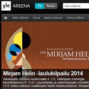 Mirjam Helin -laulukilpailu näkyy Yle Areenassa.