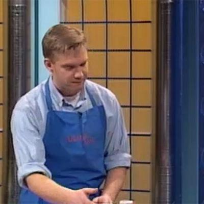 Markus Perret, Stefan Reijonen och Maria Hackzell lagar brunchmat, 2000
