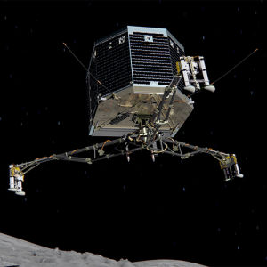 Landaren Philae på väg mot kometen.