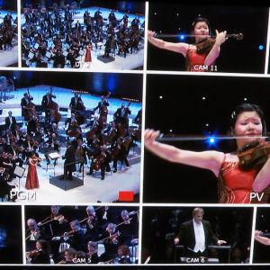 Musiikkitalon kuvatarkkaamo: lavalla Sibelius-viulukilpailussa 2015 yhdysvaltalainen Mayumi Kanagawa.