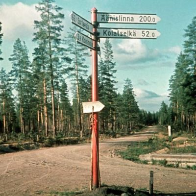 Vägskylt i Suistamo, SA-bild 1941
