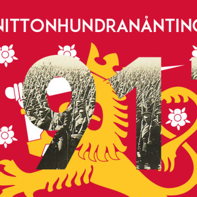 Texten Nittonhundranånting 1917, med finska lejonet och en armé.