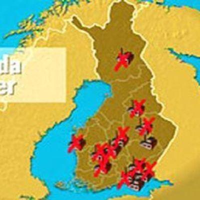 En karta över nerlagda fabriker i finland år 2009