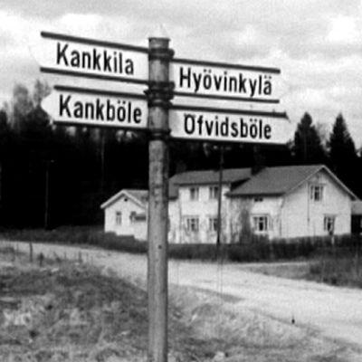 Vägskylt vid Pyttis, Yle 1964