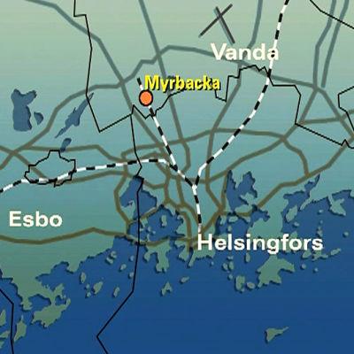 Karta över Helsingfors, Esbo och Vanda, Yle 2002