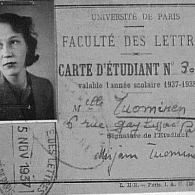 Mirjam Tuominens studiekort till Paris universitet 1937-1938.