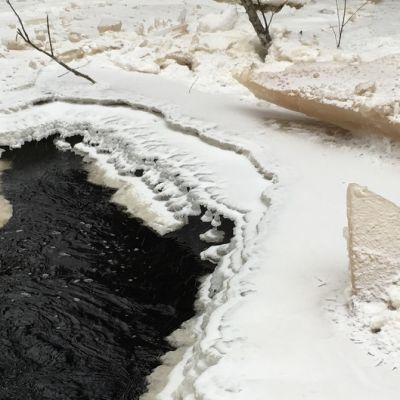 Juvan Myllyjoella puretun hyydepadon jäälohkareita
