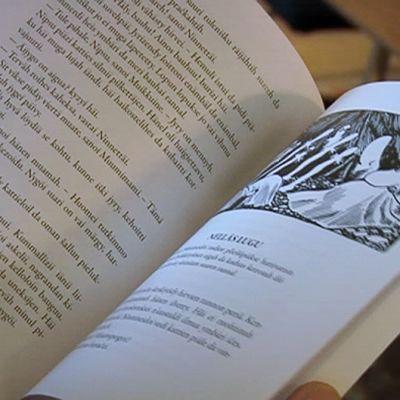 Henkilö lukemassa kirjaa.