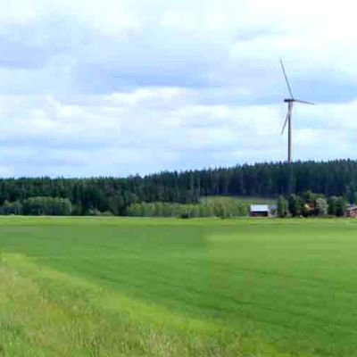 Tuuliturbiineja peltomaisemassa.
