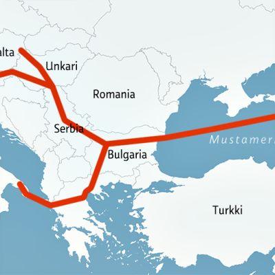 South Stream -kaasuputken olisi määrä tulla Venäjältä Mustanmeren pohjaa pitkin Bulgarian Varnan satamaan ja edelleen Bulgarian halki Serbiaan.