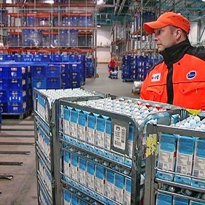 Mies siirtää maitopurkkeja rullakolla Valion kylmävarastossa