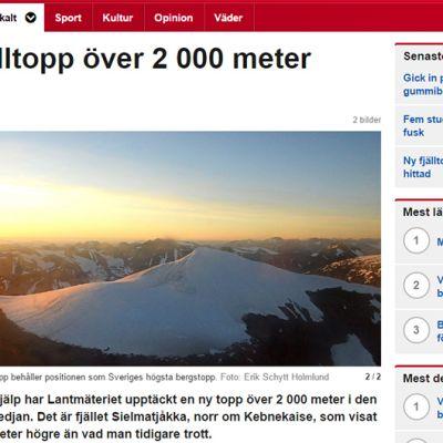 Kuvakaappaus SVT Nordnyttin sivuilta.