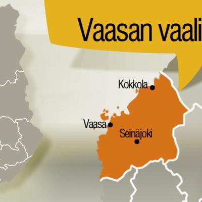 Kartta Vaasan vaalipiiristä.