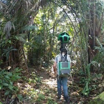 Mies kulkee sademetsässä Steet View -kamera selässään.