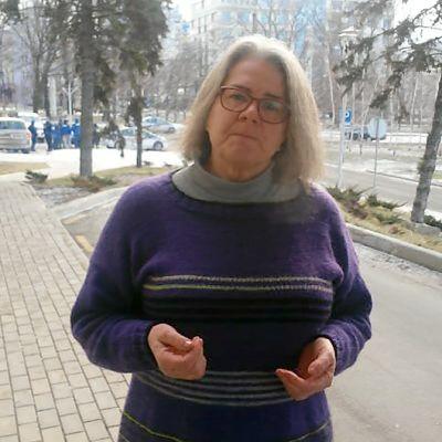 Yle Uutisten kirjeenvaihtaja Kerstin Kronvall Donetskissa.