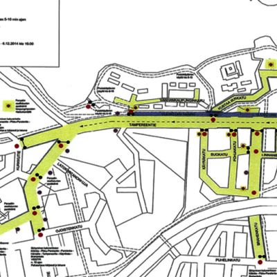 Panssariprikaatin kartta liikennejärjestelyistä Hämeenlinnassa valtakunnallisen paraatin aikana.