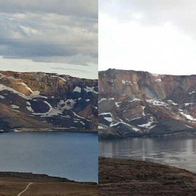 Ennen Askja-järven rannalla Islannissa heinäkuussa tapahtunutta maanvöryä otettu kuva ja vyöryn jälkeen otettu kuva vierekkäin.