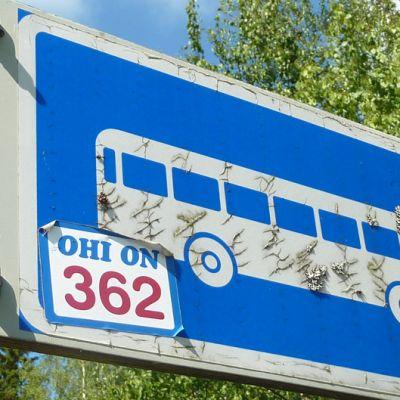 """Lennoston bussipysäkki, johon on liimattu """"Ohi on!""""-tarra."""