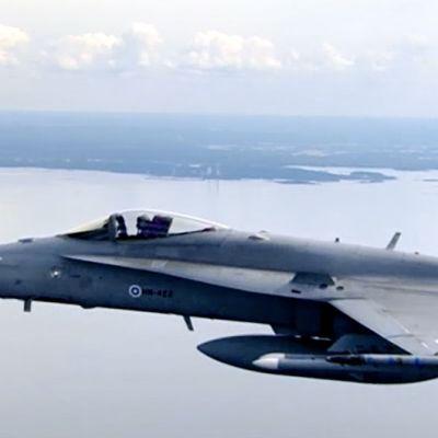 Kaksi Hornet-hävittäjää lennossa.