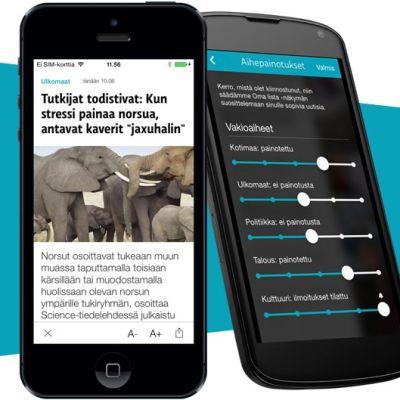 Yle Uutiset Uutisvahti -sovellus iPhonessa ja Android-puhelimessa