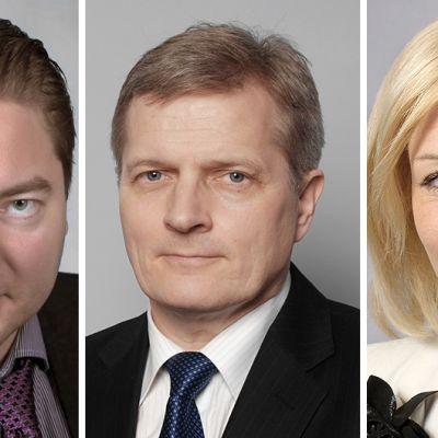 Perussuomalaisten kansanedustaja Ville Vähämäki, sekä sosiaalidemokraattien kansanedustajat Johannes Koskinen ja Maria Guzenina-Richardson.