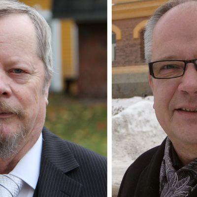 Perussuomalaisten kansanedustajat Reijo Tossavainen ja Kaj Turunen.